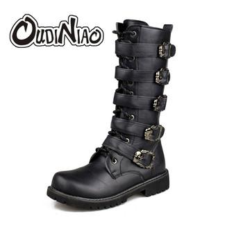 OUDINIAO Army Boots mężczyźni High Military Combat buty metalowe klamry punk Mid Calf mężczyzna buty motocyklowe koronki up Mężczyźni Buty Rock tanie i dobre opinie Dorosłych Gumowe Połowy łydki Z DINIAO Tkanina bawełniana Sznurowane Szycia Z (3cm-5cm) Okrągły palec Masz Wiosna jesień