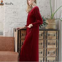 La MaxPa Luxury Female Autumn Winter Nightgown Long Sleeve Velvet Warm Solid Sleepwear Pajamas Sets Negligee for Women