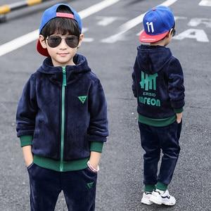 Image 1 - Boys Autumn Winter Sports Suit Children Clothing set Girls Thick Velvet Hoodies+Pants 2PCS Kids Tracksuit 3 10Y Sweatsuit