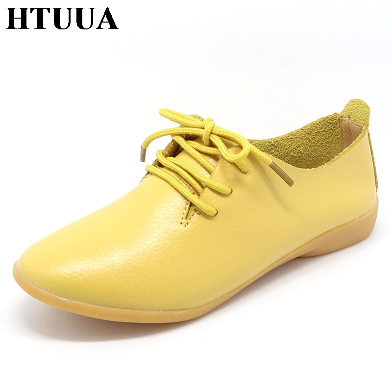 HTUUA Genuine Leather Oxford Shoes For Women Round Toe Lace-Up Casual Shoes Spring And Autumn Flat Loafers Shoes 35-44 SX018 women flat polka dot square toe lace up casual shoes new arrival fashion genuine leather spring autumn shoes 20170214