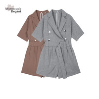 Double Breasted Belt Playsuits Rompers Womens Jumpsuit 2017 Summer New Fashion Temperament Suit Short Playsuits