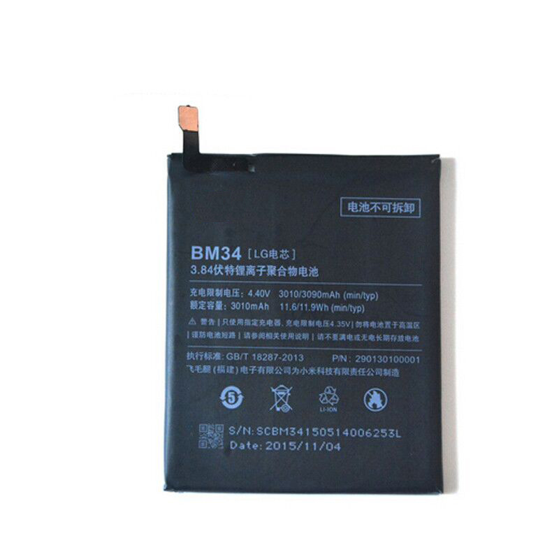 100% Tested BM34 3010mAh Li-ion Polymer Mobile Phone Battery For Xiaomi Mi Note Pro Replacement Parts