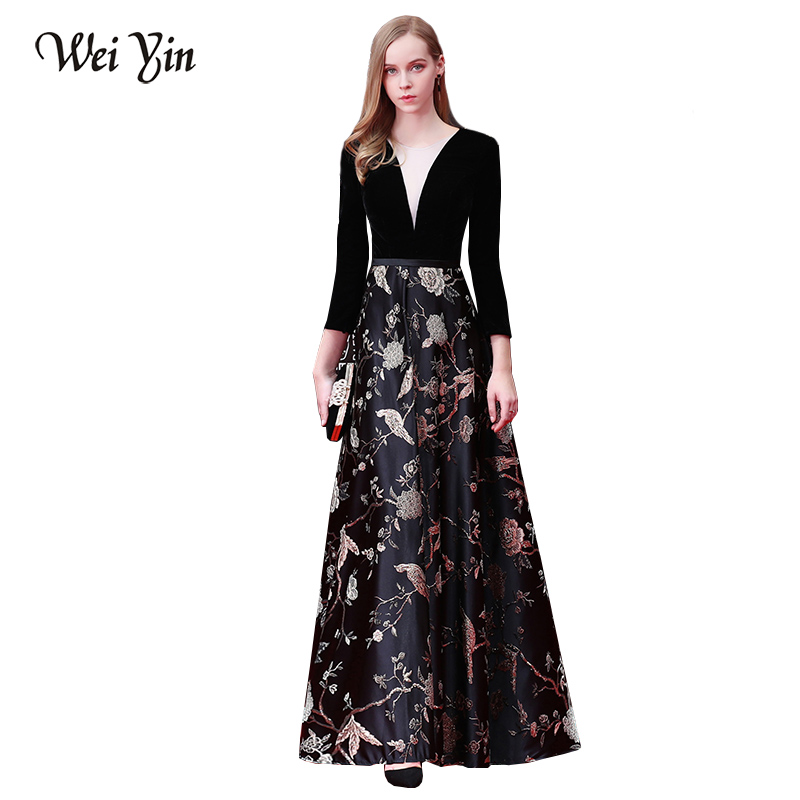 WEIYIN New Sexy Black   Evening     Dresses   with Long Sleeves V Neck Embroidery Illusion Backless Floor Length Maxi Party Prom   Dress