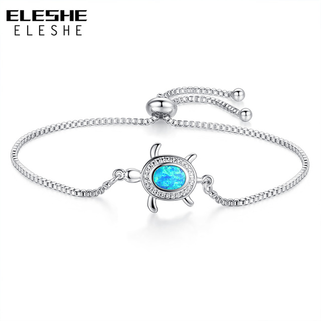 ELESHE Fashion New Silver Tortoise Charm Bracelet for Women Adjustable Chain Bracelets Crystal Opal Jewelry 2018