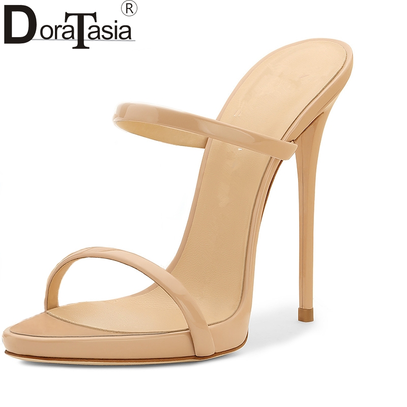 DoraTasia 2017 Hot Sale Brand Large Size 34-43 Fashion Thin High Heels Women Pumps Sexy Party Trendy Shoes Woman Mules plus size 30 43 2016 fashion sexy round toe sweet colorful thin high heels hot sale woman shoes women s pumps nude