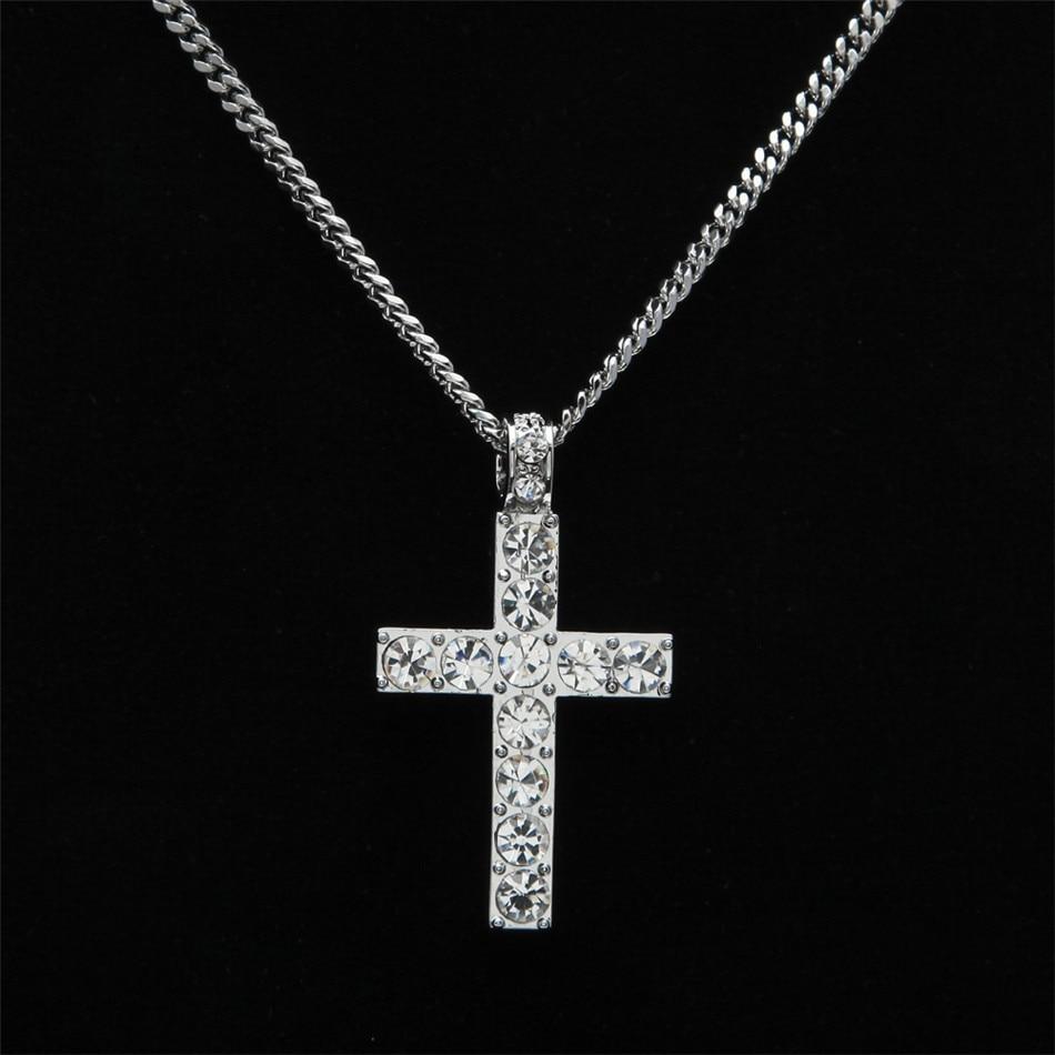 Hip Hop paduan warna emas lintas liontin kalung, Agama es berlian - Perhiasan fashion - Foto 4