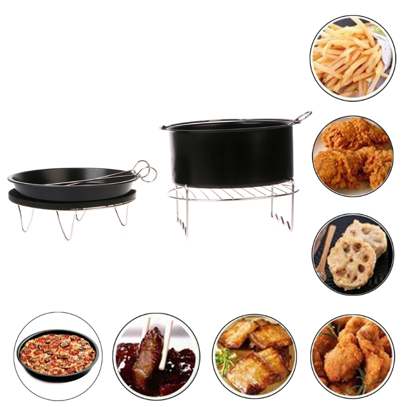 7Inch Air Fryer Pan Accessory Baking Basket Pizza Plate Grill Pot Multi-function
