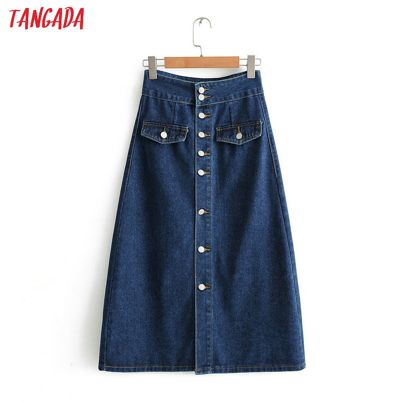 Tangada Autumn 2019 Women Vintage Denim Skirt Blue Buttons Pocket Retro High Waist Straight Mid Calf Skirts Faldas Mujer BC12