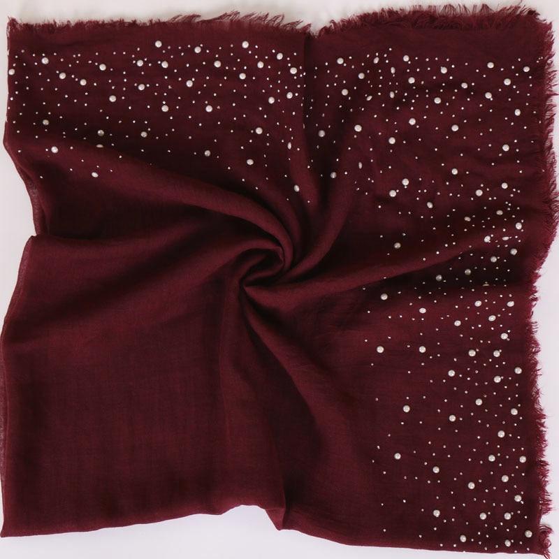 Plain Iron Pearl Beads Square Tassel Viscose Shawl Scarf Women Wraps And Shawls Pashmina Muslim Hijab Echarpe Foulard 110*110Cm