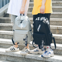 Canvas Both Shoulders Package Trend High School Living anti theft Backpack Woman Bag Junior Middle Student A