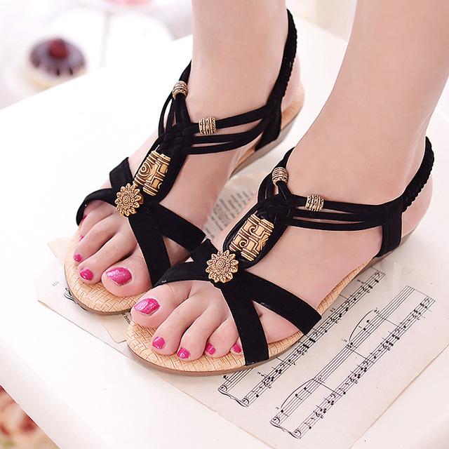 Women Wedge Sandals Shoes Women Summer Sandals 2016 New Ankle-strap Gladiator Sandals Women Ladies Shoes Black
