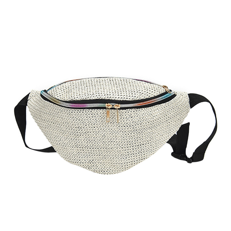 New Arrival Fashion Neutral Pure Color Weave Messenger Shoulder Bag Straw Pillow Chest Bag summer beach bag For Women Girls T stylish gauze flower decorated solid color beach straw hat for women