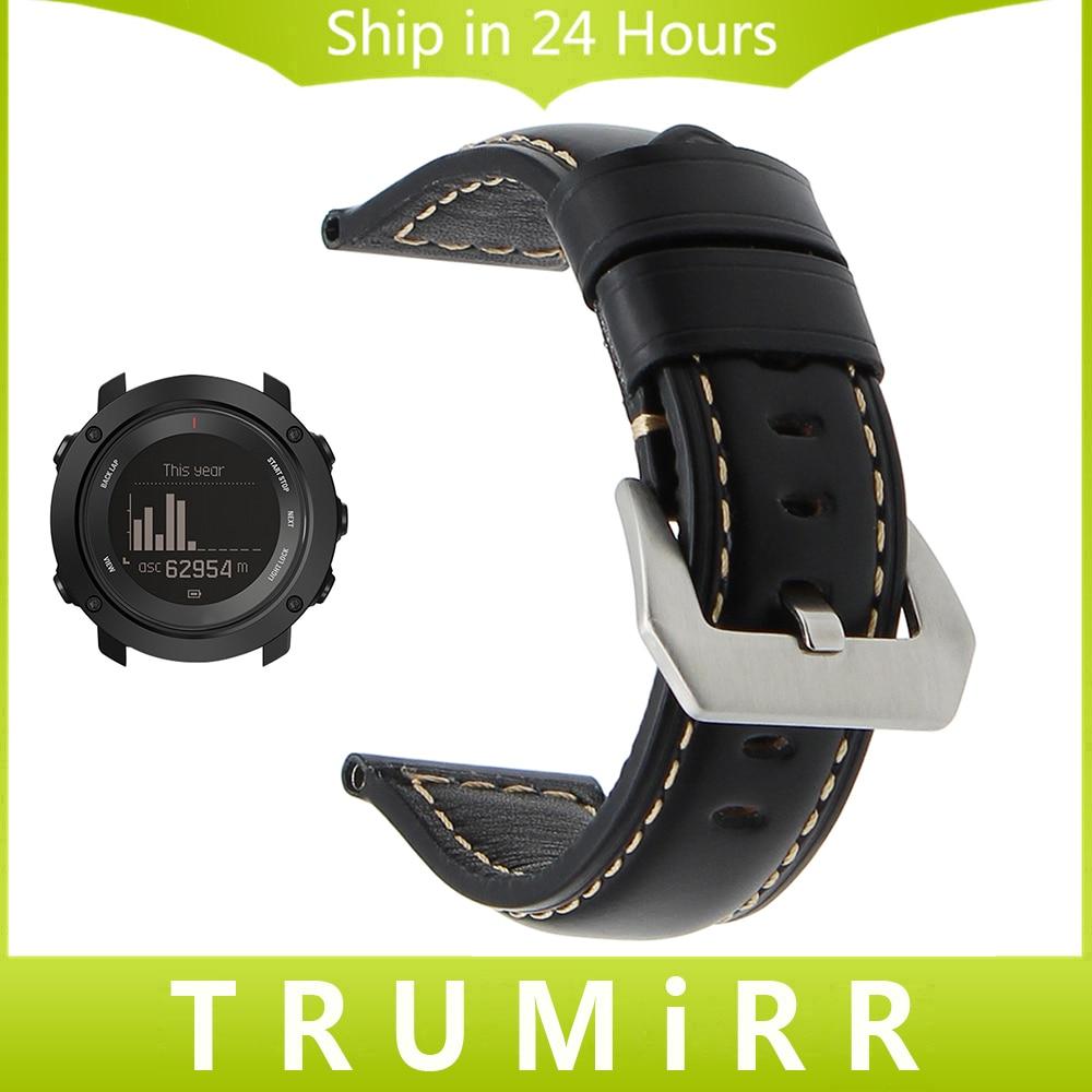Italian Calf Genuine Leather Watchband for Ambit 3 Vertical / Spartan Sport HR Handmade Watch Band 316L Steel Buckle Wrist Strap