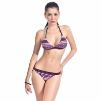New Sexy Women Triangle Swimsuit Ethnic Pattern Bandage Swimwear Female Low Waist Thongs Brazilian Bikini Set