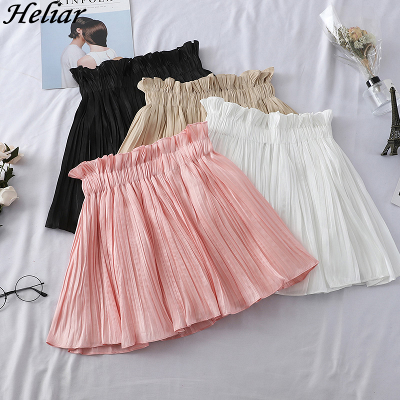 Heliar 2020 Spring Women Skirt High Waist Chic Striped Stitching Skirt Sweet Girls Dance Skirt Casual Women Mini Pleated Skirt