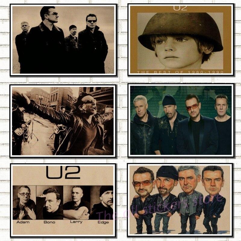 U2 плакат. Ирландия домашнего интерьера плакат. Крафт-кислоты рок-музыка плакат рисунок основной настенные наклейки/6035