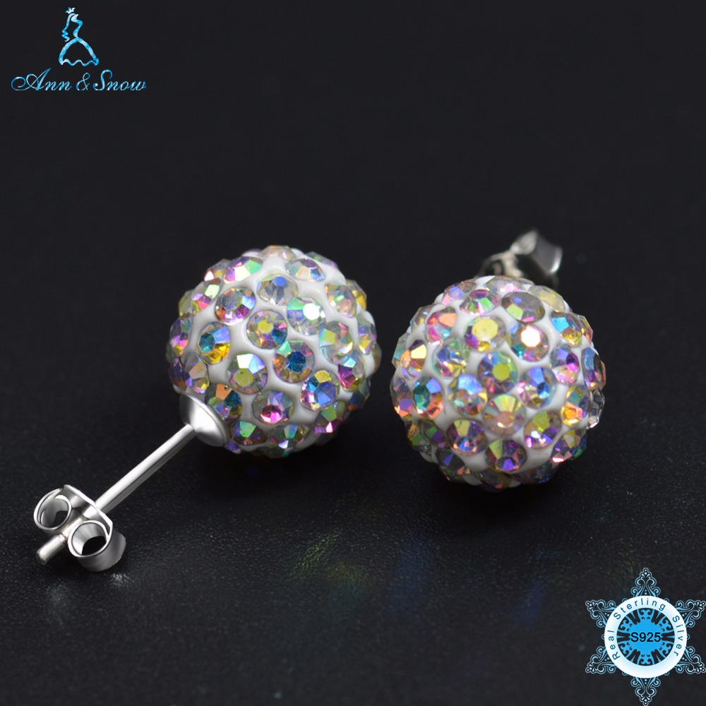 Ann & Snow 925 Sterling Silver Stud Earrings Crystals Ball Beads Fine Jewelry For Women Cute Style Aaa Cz Stone New Design