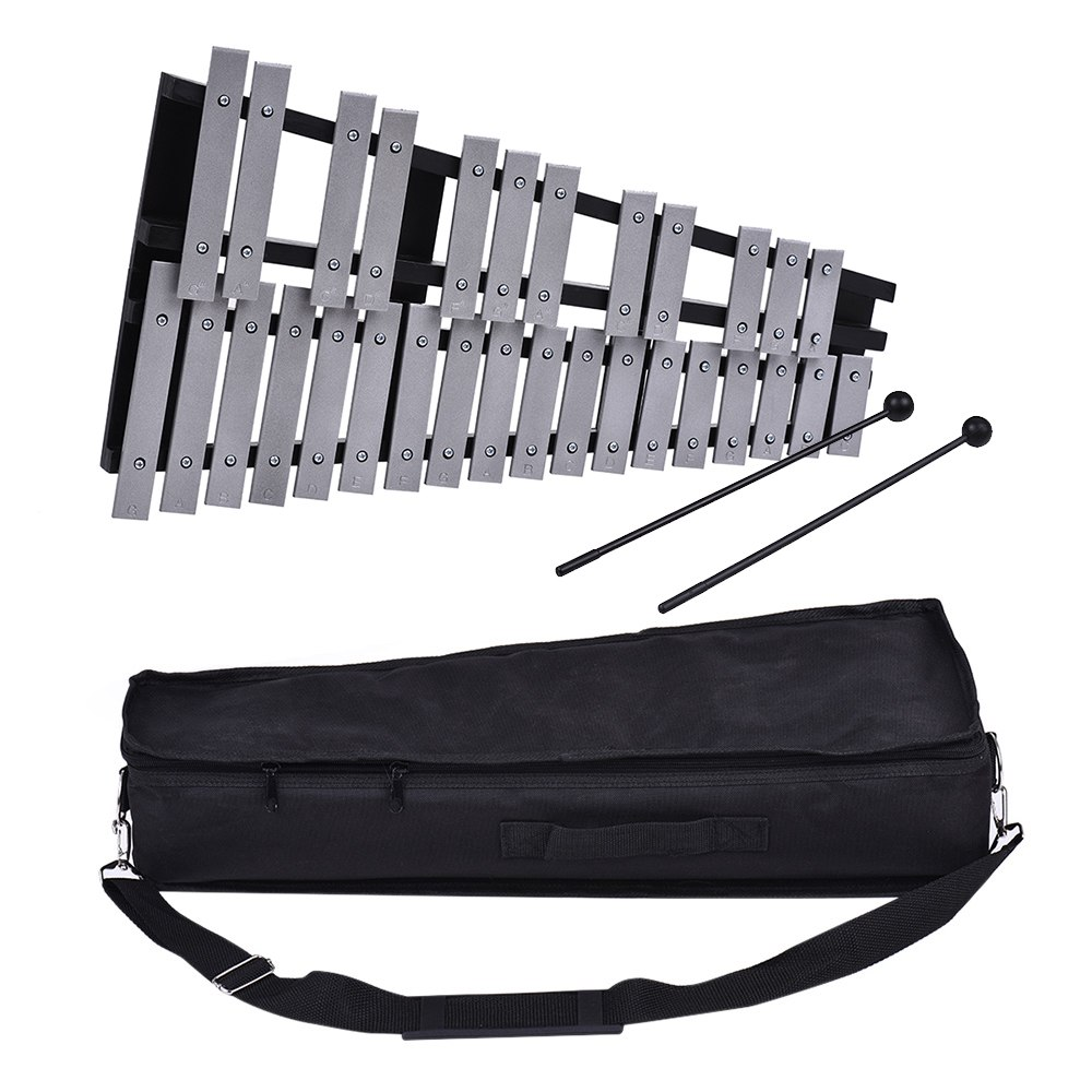 Foldable 30 Note Glockenspiel Xylophone Wooden Frame Aluminum Bars Educational Percussion Musical Instrument GiftFoldable 30 Note Glockenspiel Xylophone Wooden Frame Aluminum Bars Educational Percussion Musical Instrument Gift