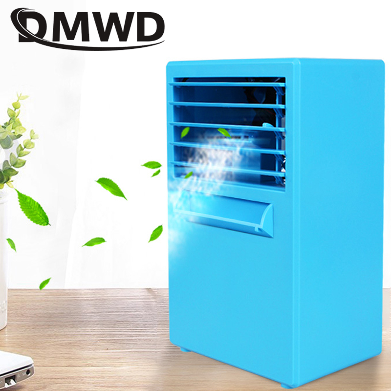 DMWD Mini Air Conditioner Fan Humidifier Moisturizing Cooler Portable Office Desktop Bladeless Cooled Water Conditioning Fans EU dmwd portable strong wind air conditioning cooler electric conditioner fan mini air cooling fans humidifier water cooled chiller