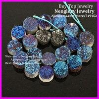 Mystical Titanium Drusy Stone flat round shape Pendant Bead, Rough Druzy Quartz Rainbow Cabochons Stone Beads 10X10mm