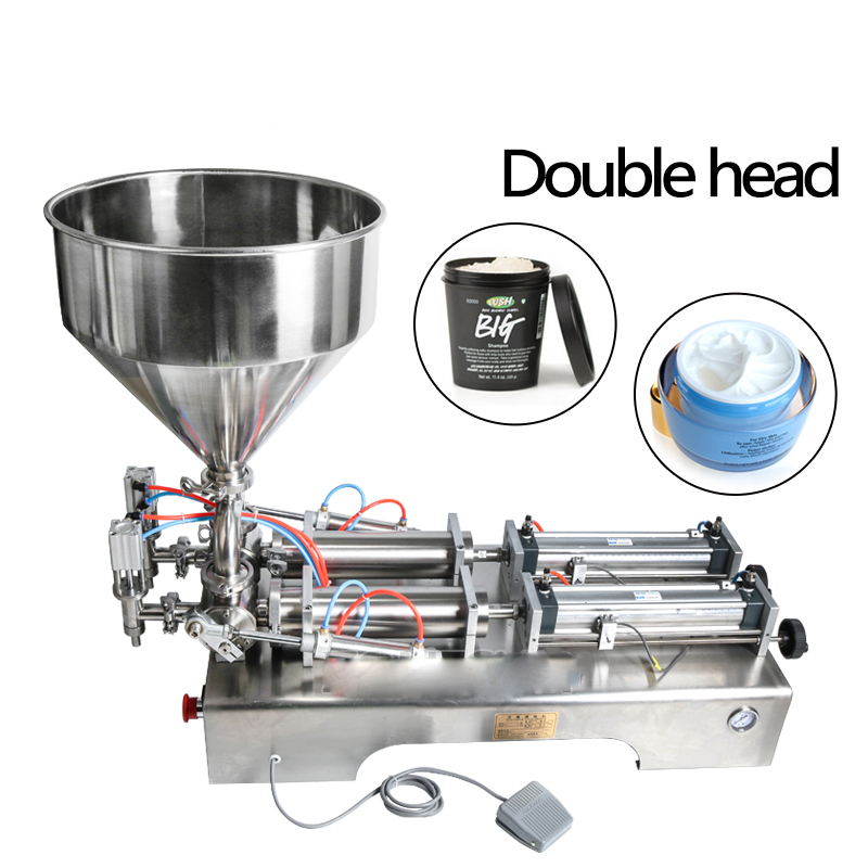 Double heads filling machine Automatic pneumatic hopper Cream Shampoo moisturizer lotion Cosmetic oil honey food paste