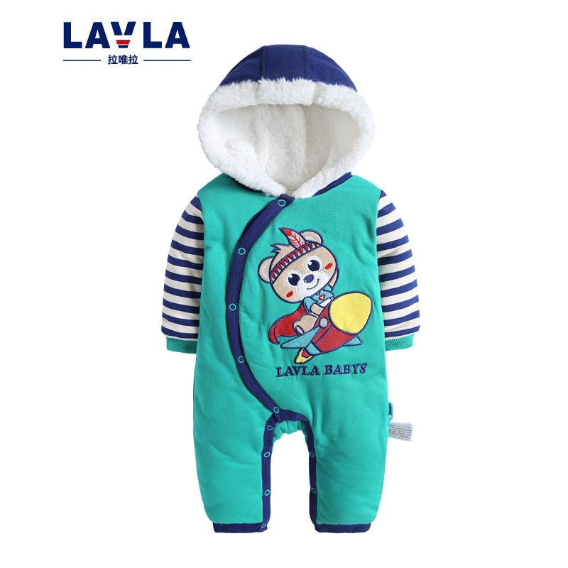 Lavla Cartoon Double Cotton Newborn Clothes Overall Baby Costume Warm Longsleeve Baby Rompers Retail girls Boys thicken Romper warm thicken baby rompers long sleeve organic cotton autumn
