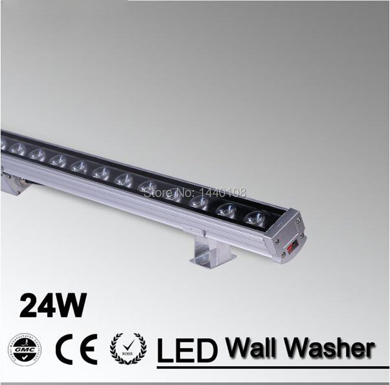 6pcs/lot LED Wall Washer Light 24W 1000mm*46*46mm AC85-265V IP65 Waterproof RGB garden light  Outdoor Lighting