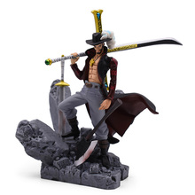 615 cm New Anime One Piece Dracule Mihawk PVC Action Figure Doll Collectible Model Toy Christmas Gift For Children [funny] original box 28cm game over watch azrael black death reaper ripper action figure collectible model doll toy kids gift