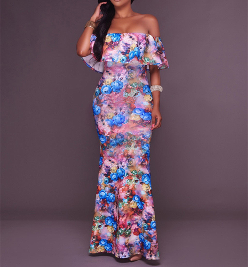 <font><b>2018</b></font> New Women summer BOHO Long Floral Beach Maxi <font><b>Dress</b></font> ladies <font><b>sexy</b></font> short sleeve off shoulder ruffles <font><b>bodycon</b></font> pleated long <font><b>dress</b></font> image