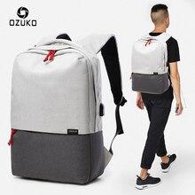 OZUKO Neue Stil Mode Männer Rucksack Laptop Schulranzen Usb-gebühren Design Reise Rucksäcke BookBags 15 Zoll Notebook Tasche