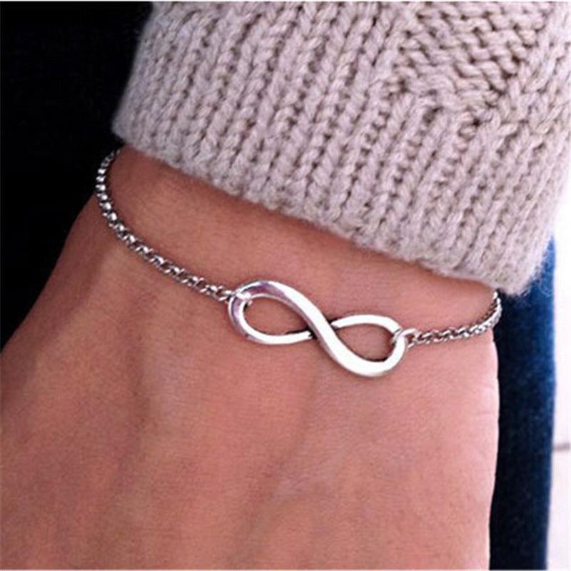 SL040 Hot Minimalist Punk Vintage Bijoux Fashion Charm Infinity 8 Bracelets For Women Gift Men Chain Tiny Bangles Cheap Jewelry