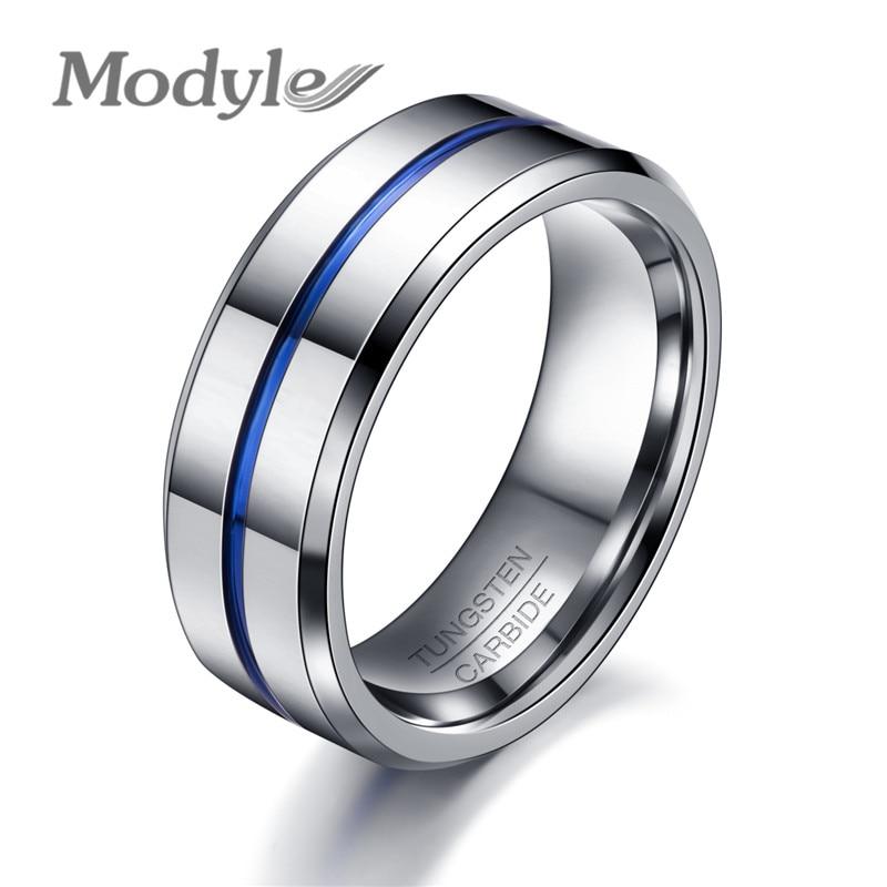 Modyle 2017 Fashion Thin Blue Line Tungsten Ring Wedding Brand 8MM Tungsten Carbide Rings For