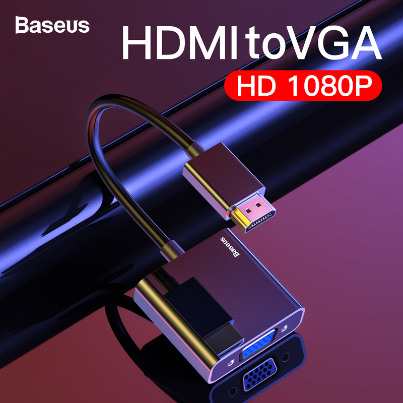 Baseus Cabo HDMI para VGA Adaptador VGA HDMI Conversor de Vídeo Digital HDMI para VGA Jack 3.5 milímetros Aux Audio Splitter para Laptop PS4 TV