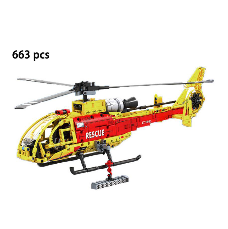 1:20 simulation France SA 341/342 Light Rescue Helicopter building block technics bricks model education toys collection