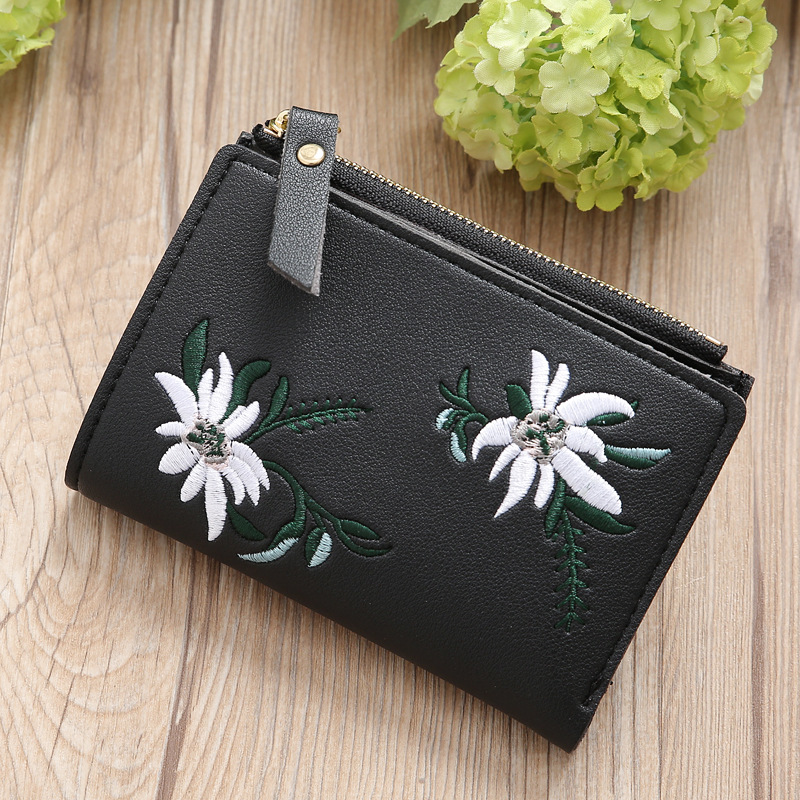 Women Wallet Female Card Holder Wallet Coins Zipper Short Purse Flower Embroideried Slim Pink Sweet Girls Fashion Clutch Bag in Wallets from Luggage Bags