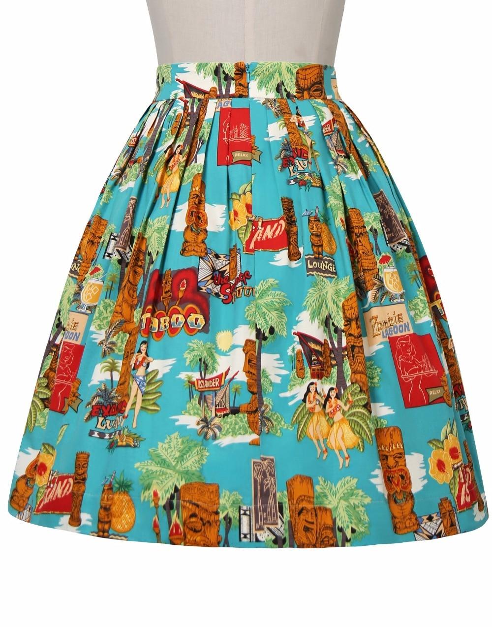 Pin Jupe Jupes 25 Bouton up Vintage As Taille Coton Midi Saia La Up femmes Plissée Plus Moai S 4xl Swing 50 Rockabilly Show Robe Motif vv1AqOr