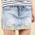 Nova Verão 2017 Lace Saia Jeans calças de Brim Da Forma Das Mulheres Saias Primavera Magro Sexy Mini saia Lápis Saias Curtas das Mulheres