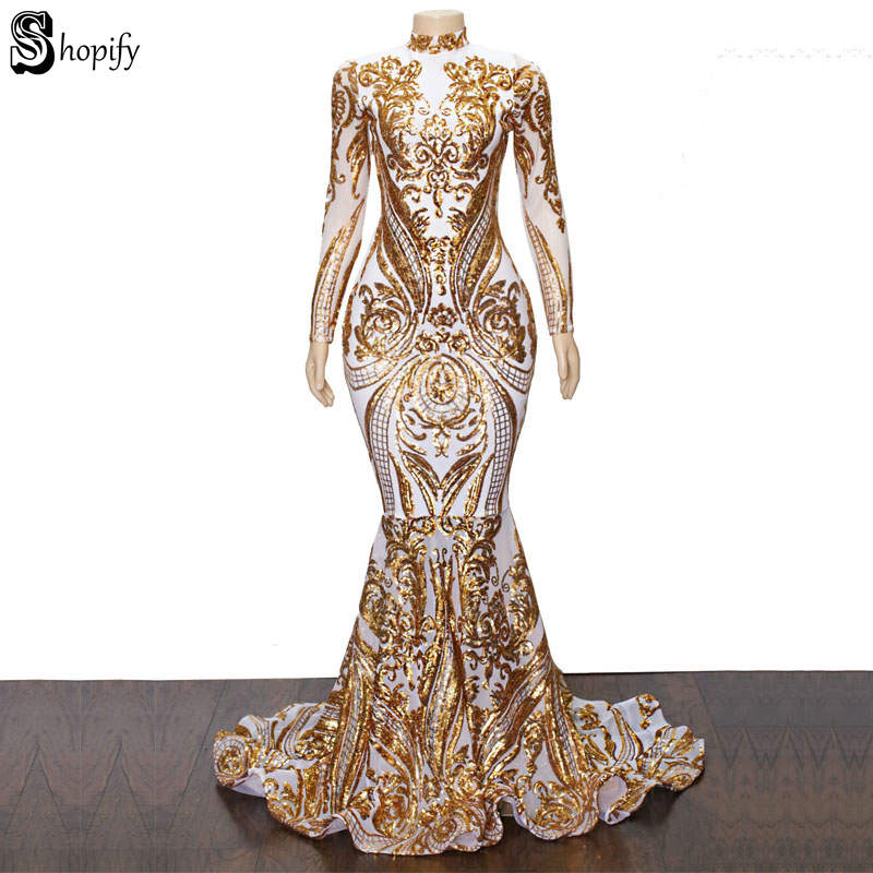 Long   Prom     Dresses   2019 Elegant High Neck Long Sleeve Gold Sequin Lace African Women White Mermaid   Prom     Dress   Party