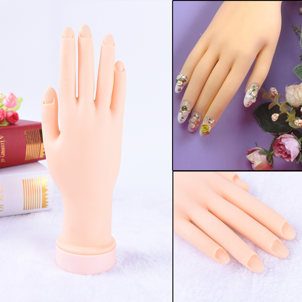 Nail Art Tools Women Nail Art Hand Nail Training Display Model Hands Flexible Silicone Prosthetic Personal Salon Manicure Tools