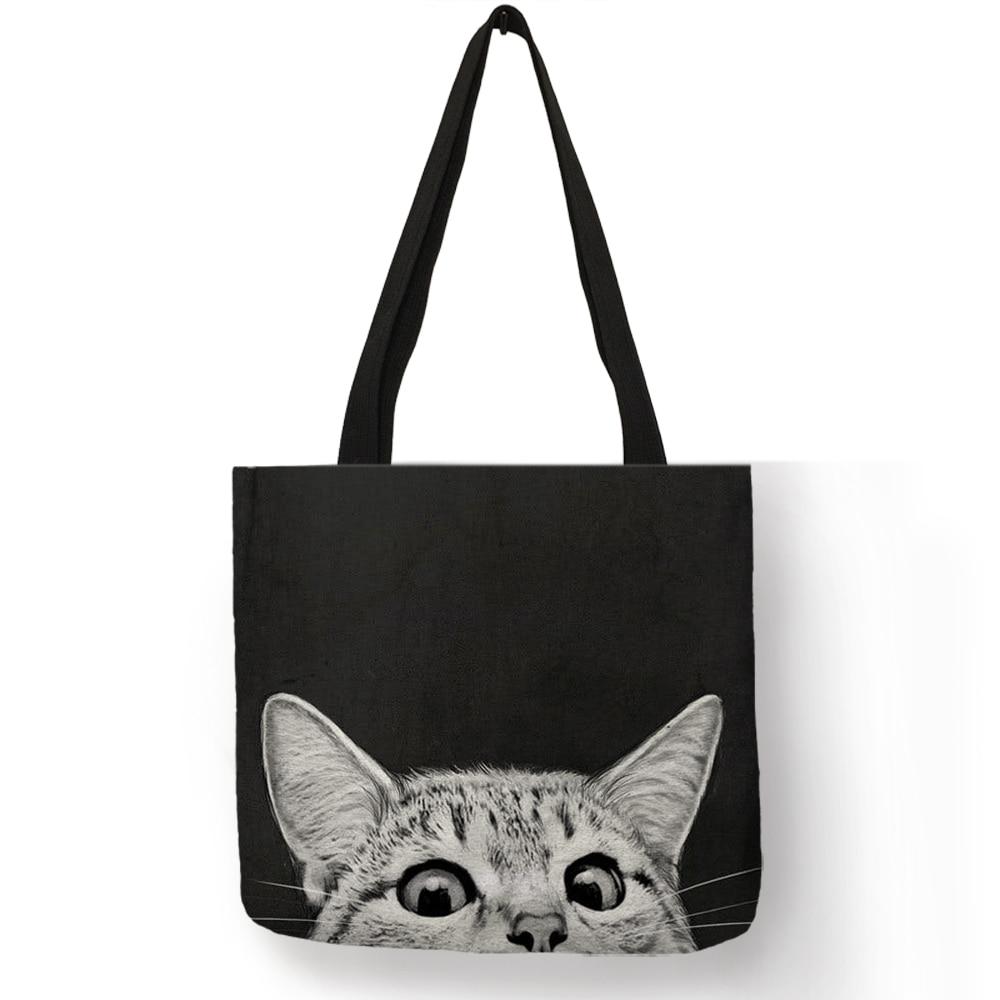 Design Bags Women Bag 2019 Sumi Black Cat Print Shopper Bag Handbag Office Reusable Casual Shoulder Bags B06060
