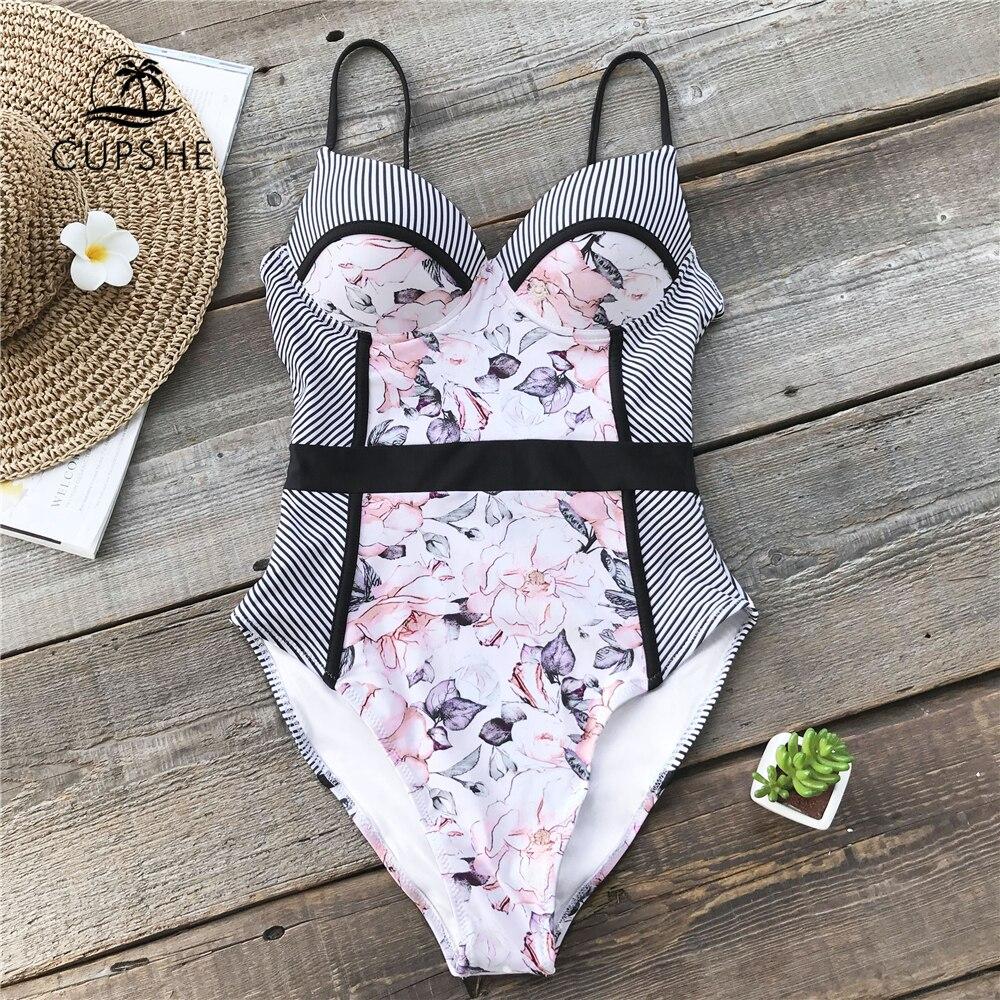 046662e1c2db Traje de baño de una pieza con flores rosadas y rayas para mujer Push Up  corte de pierna alta ...