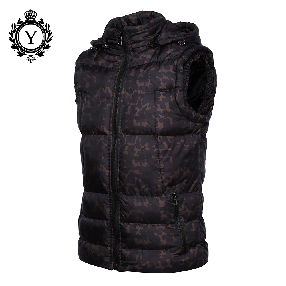 COUTUDI 2017 Mens Clothing Winter Vest Jackets Black Camouflage Hoody Sleeveless Jacket Coat Warm Printed Cotton Down Vest Coat