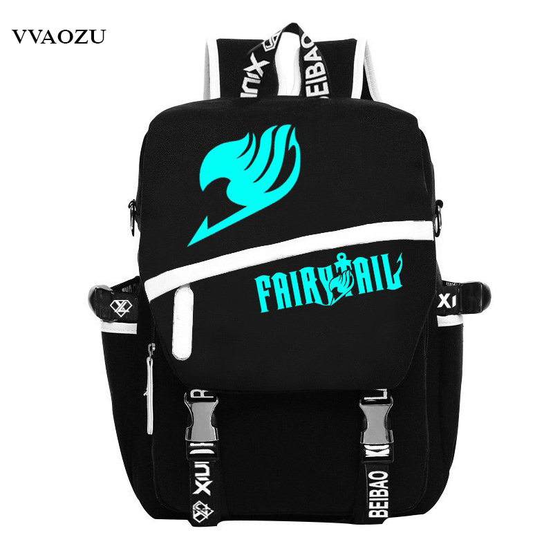 Fairy Tail Shoulders School Bags Anime Canvas Luminous Printing Backpack Schoolbags for Teenagers Mochila Feminina  free shipping korean version candy colors fairy tail logo printing man woman canvas schoolbag red green black blue backpacks