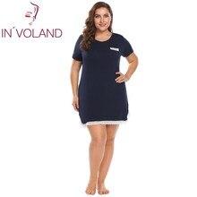 INVOLAND Size Lớn XL 4XL Cơ Bản của Phụ Nữ Nightdress V Cổ Ngắn Tay Áo Ren Trim Lớn Áo Ngủ Ngủ Ăn Mặc Cộng Với Kích Thước