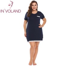 Involand 빅 사이즈 XL 4XL 여성 기본 나이트 드레스 v 넥 반소매 레이스 트림 대형 나이트 가운 슬리퍼 플러스 사이즈