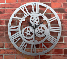 large size gear clock quartz silent decorative wall watches12 inch European archaize gear wall clock living room clock