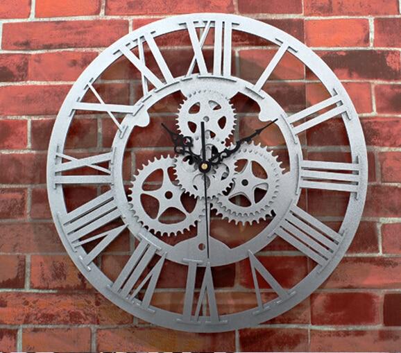 large size gear clock quartz silent decorative wall watches12 inch European archaize gear wall clock living room clock