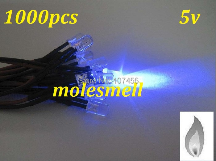 Free shipping 1000pcs 5mm Blue Flicker 5V Pre-Wired Water Clear LED Leds Candle Light 20CM 5mm candle blue led 5v DC
