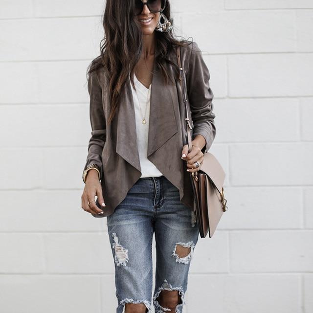 Fashionable Suit Collar Irregular Cardigan Lady Jacket Vestidos