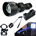 UniqueFire 1504-XPG White Light Lampe Torche 67mm Convex Lens Flashlight Kit: 1 Lantern, 1 Charger, 1 Gun Mount, 1 Rat Tail